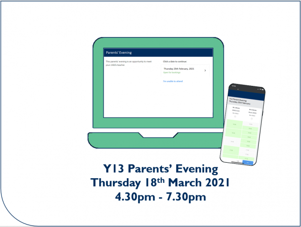 Y13 Parents' Evening booking open - Preview Image